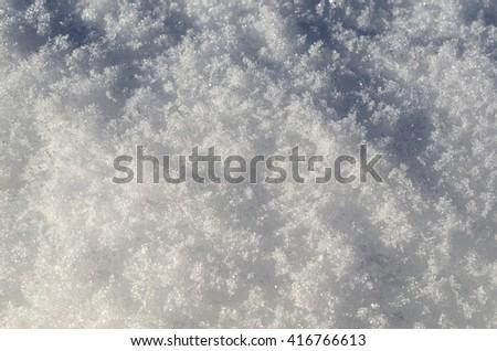 new snow in sunshine - stock photo