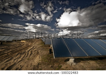 New solar heating plant in Denmark - stock photo