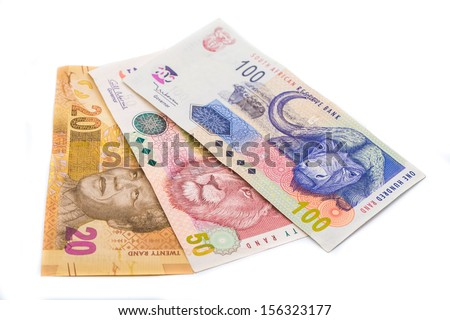New South African 20 50 and100 Rand notes isolated on white background - stock photo
