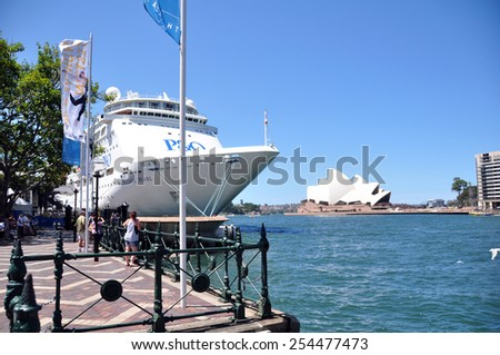 NEW SOUTH WALES, AUSTRALIA - JANUARY 24 : Ferry Boat at Harbour Sydney Opera House is a multi-venue performing arts centre at Sydney on January 24, 2015 in New South Wales, Australia. - stock photo
