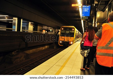 NEW SOUTH WALES, AUSTRALIA - JANUARY 24 : People withing Subway Train at Sydney on January 24, 2015 in New South Wales, Australia.  - stock photo