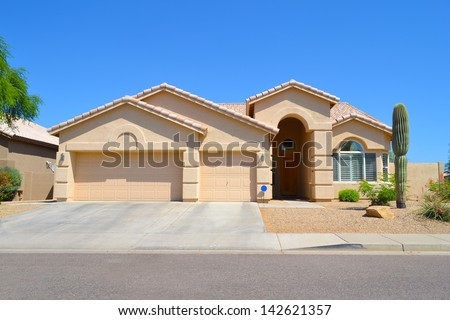 New Southwestern Style Arizona Dream Home - stock photo