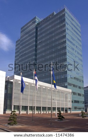 New state administration building in Banja Luka, Republika Srpska, Bosnia and Herzegovina - stock photo