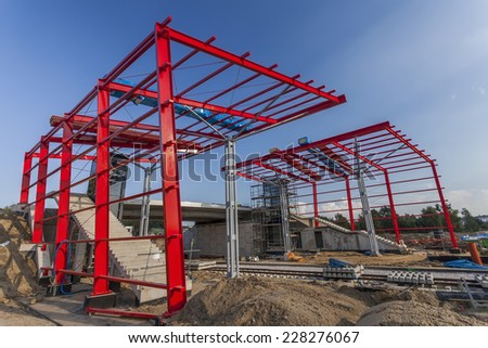 New station on the construction of the railway line - stock photo