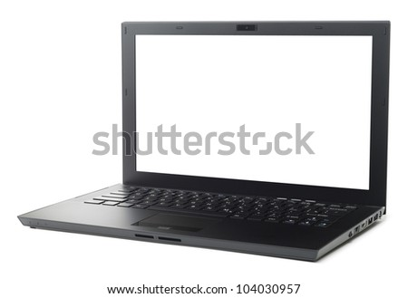New style black business laptop isolated with clipping path on white background - stock photo