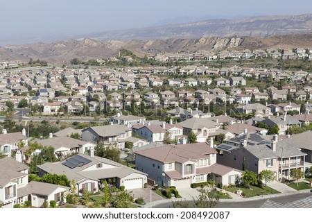 New suburban community in Ventura County's Simi Valley near Los Angeles, California.   - stock photo