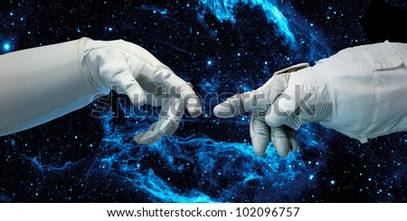 New technologies in space. Concept (Collage from images from www.nasa.gov) - stock photo