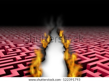 New thinking trailblazer as a business success symbol of a leader that blazes a new trail or path through a confusing maze or labyrinth by burning the obstacles with fire for a creative solution. - stock photo