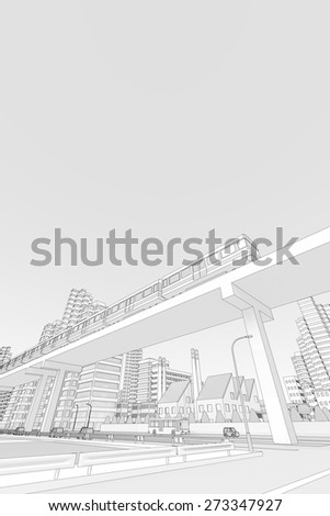 New transportation system of the city - stock photo