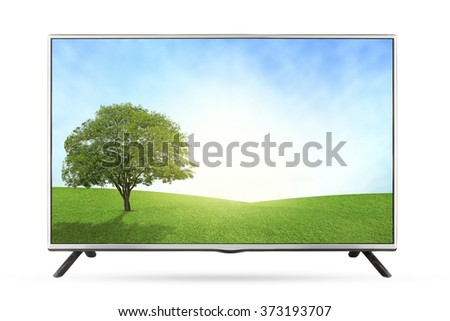 New TV grassland field  landscape isolated on white background, use clipping path - stock photo