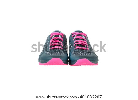 New unbranded running shoes, sneaker or trainer isolated on white background  - stock photo