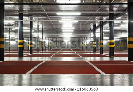 new underground parking - stock photo
