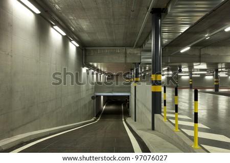 new underground parking, tunnel - stock photo