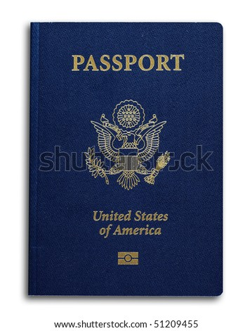 New US passport with ID chip isolated on white - stock photo