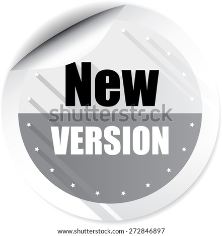 New Version Gray Stickers And Label. - stock photo