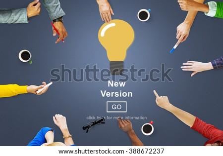 New Version Software Install Homepage Concept - stock photo