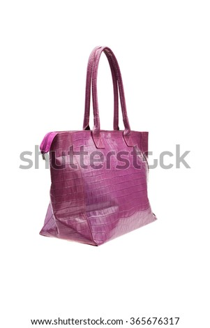 New violet womens bag isolated on white background. - stock photo
