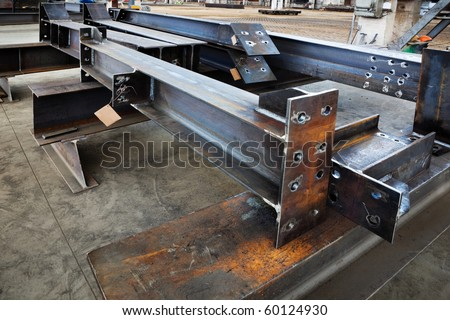new welded metal beams on modern plant - stock photo