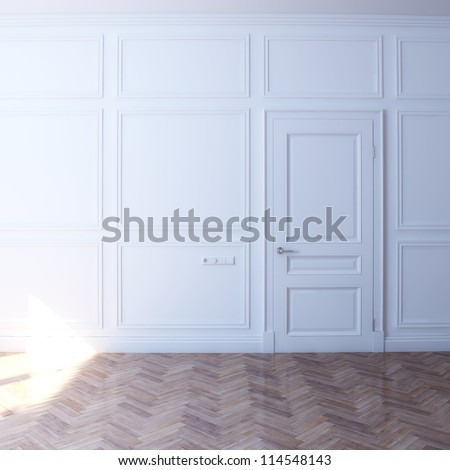 new white room with door in the sun (front view) - stock photo