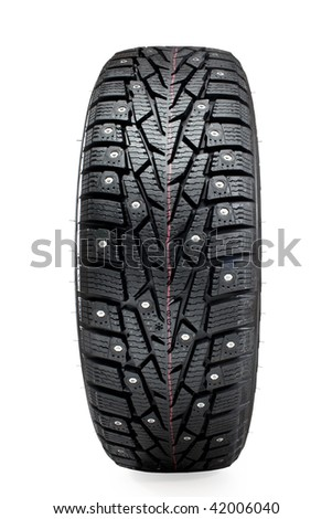 new winter tire isolated on white background - stock photo