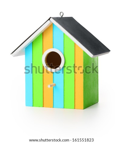 New wooden bird box, isolated on white background - stock photo