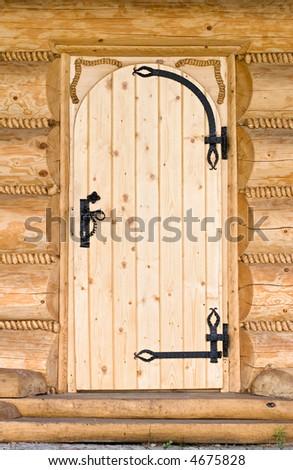 New wooden door. Front view. - stock photo
