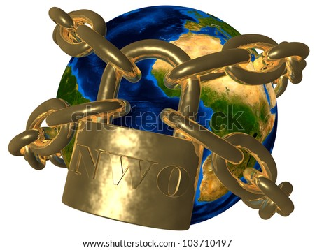 New World Order (NWO) - world in chains Elements of this image furnished by NASA - stock photo