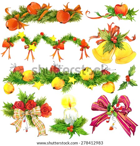 New year and Christmas decoration elements for design. watercolor drawing - stock photo