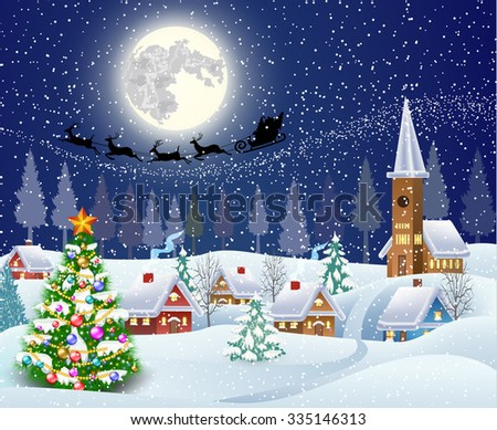 New year and Christmas winter landscape with christmas tree. background with moon and the silhouette of Santa Claus flying on sleigh. concept for greeting or postal card, illustration Raster version.  - stock photo
