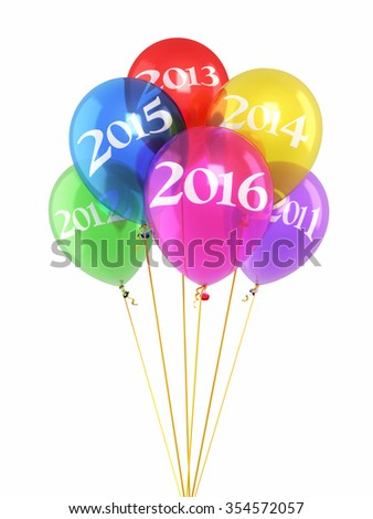 New year 2016 and Colorfull balloons render (isolated on white and clipping path) - stock photo