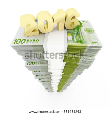 New year 2016 and Euro stack - stock photo