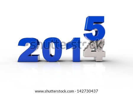 New Year 2015 and Old 2014,Render 3D. Over white background - stock photo