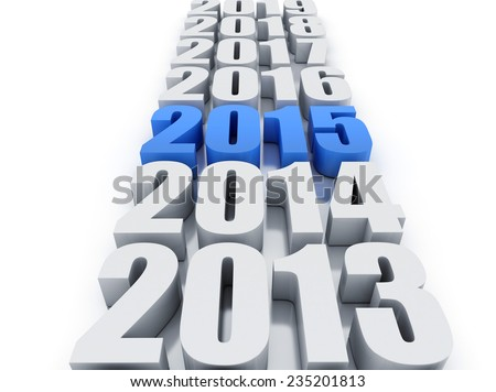new year 2015 and other years - stock photo