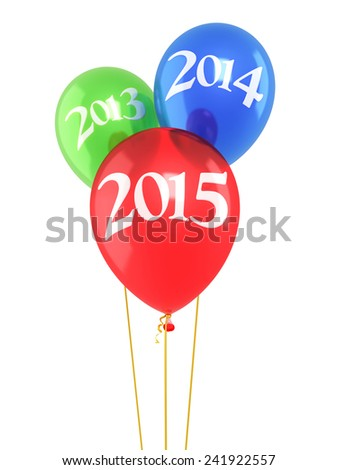 New Year 2015 and Red blue green balloons render (isolated on white and clipping path)  - stock photo