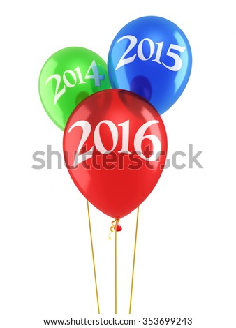 New Year 2016 and Red blue green balloons render (isolated on white and clipping path) - stock photo