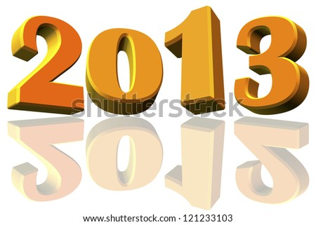 New Year 2013 and reflects to the 2012 on white background - stock photo