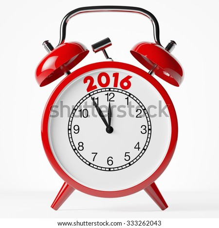 New year 2016 as concept on a red vintage alarm clock (3D Rendering) - stock photo