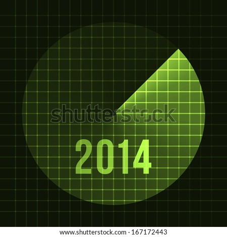 New Year Background. Sonar, 2014. Card template for text. Raster Version - stock photo