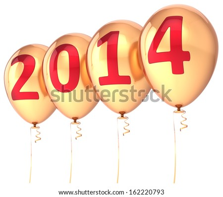 New Year 2014 balloons gold party holiday decoration. Wintertime celebration helium balloon. Future beginning calendar date greeting card banner. Detailed 3d render. Isolated on white background - stock photo