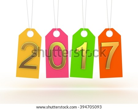 New year 2017  banner on white background - stock photo