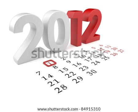 New year 2012. Calendar 3d illustration isolated - stock photo