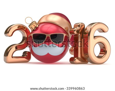 New 2016 Year calendar date emoticon Christmas ball bauble happy Santa Claus hat cartoon mustache face decoration cute red gold. Merry Xmas funny glasses person character souvenir adornment. 3d render - stock photo