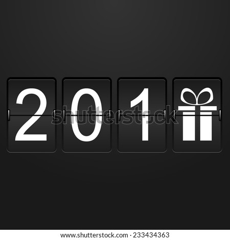 New year card Airport Time Table with numbers 201 and last digit in the form of a gift  - stock photo