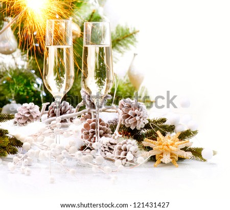 New Year Card Design with Champagne. Christmas Scene. Celebration. Sparkles - stock photo