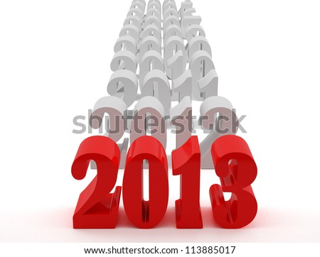 New 2013 year card. High resolution image.  3d rendered illustration. - stock photo
