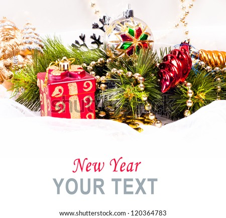 New year card with beautiful color decorations, fur tree and place for text - stock photo