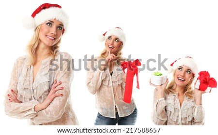 New year, celebration. Attractive girl on a white background - stock photo