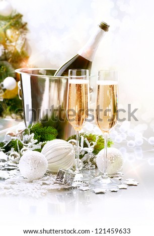 New Year Celebration. Champagne flutes. Blinking Background - stock photo