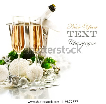 New Year Celebration.Champagne flutes.Isolated on a White Background - stock photo