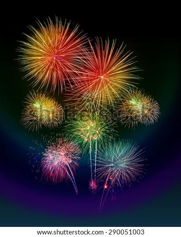 New Year celebration fireworks black background - stock photo